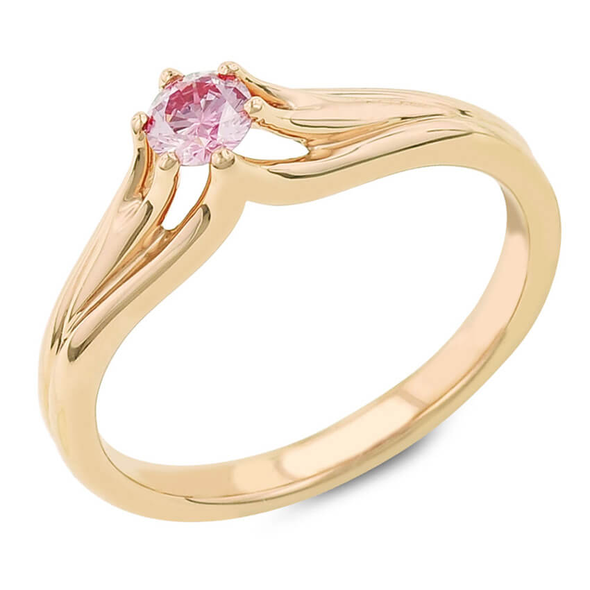 The Hibiscus Contemporary Bridal Ring Round Shape Center Pink