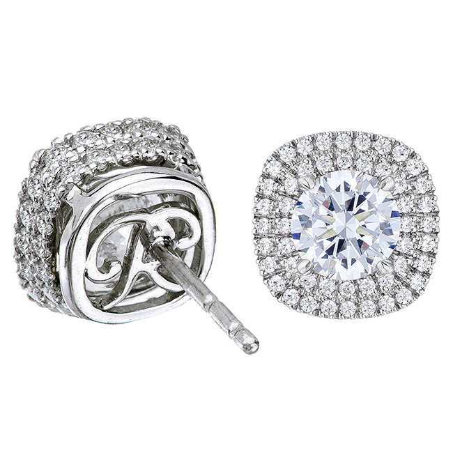 b4420bcd1 1.16 TCWT Duchess Double Halo Earrings / 0.25 to 1.25 Ct Centers