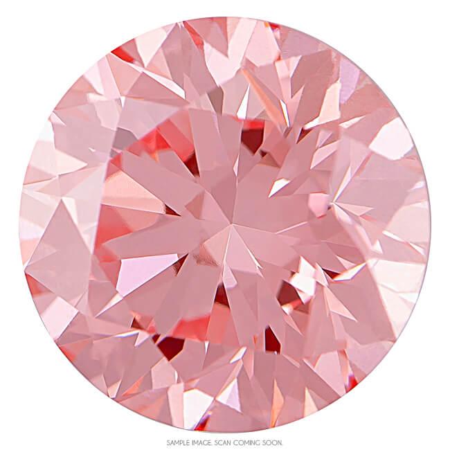 0 64 Ct Round Ideal Cut Bubble Gum Pink Color Vs1